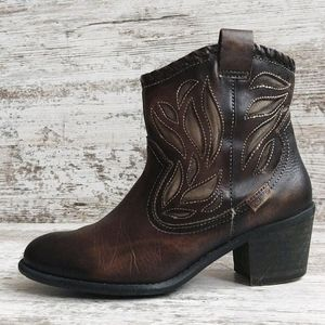 ⚃Sz 36 Pikolinos Leather Western Ankle Bootie